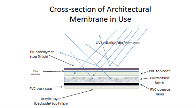 Cross-section of an Architectural Membrane in Use