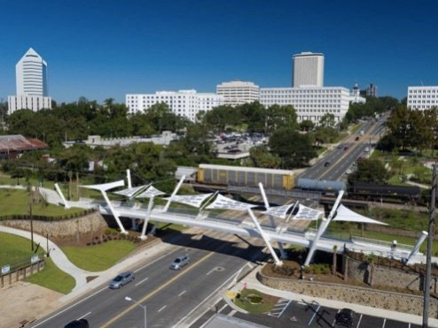 Capital Cascades Connector Bridge canopy, Design/build by Pvilion, with Shelter-Rite fabric. Completed in October, 2016. (Photography credit: Adam Cohen)