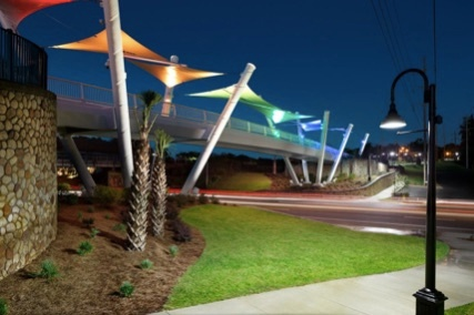 Capital Cascades Connector Bridge canopy, with LED Lighting (Photography credit: Adam Cohen)  caption=