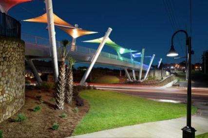 Capital Cascades Connector Bridge canopy, with LED Lighting (Photography credit: Adam Cohen)  caption=