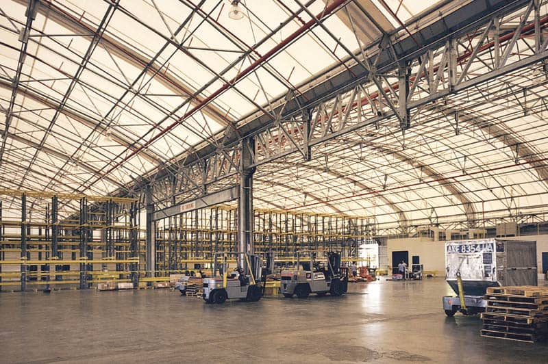 fabric roof airport hangar interior